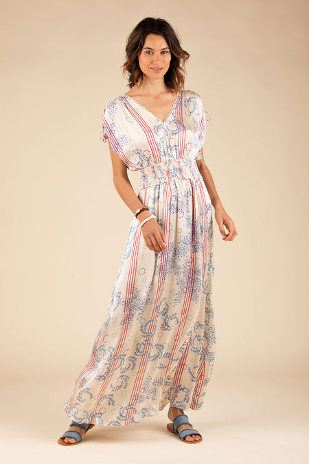 Long Dress Anita Kimono - Navy Jewel