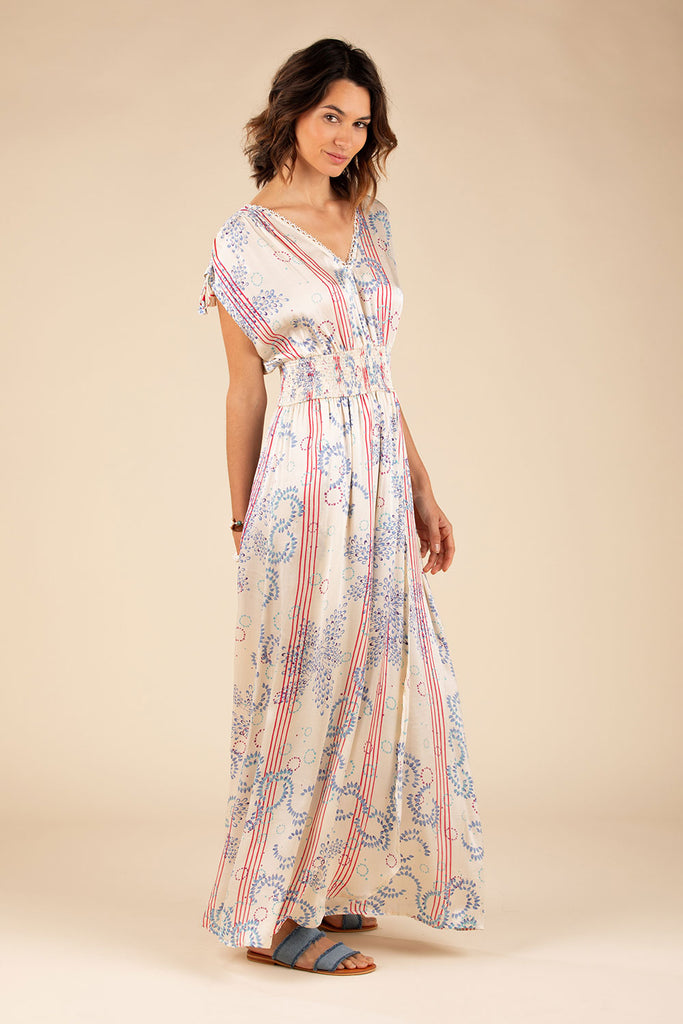 Long Dress Anita Lace Trimmed - Cream Pink Ameline