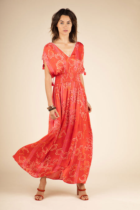 Long Dress Tunic Irma Buttoned - Orange Rombus