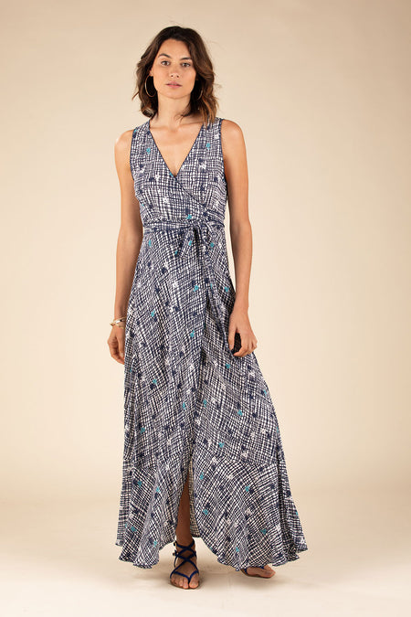 Long Dress Tunic Jena Tassel Trimmed - Blue Watercolor