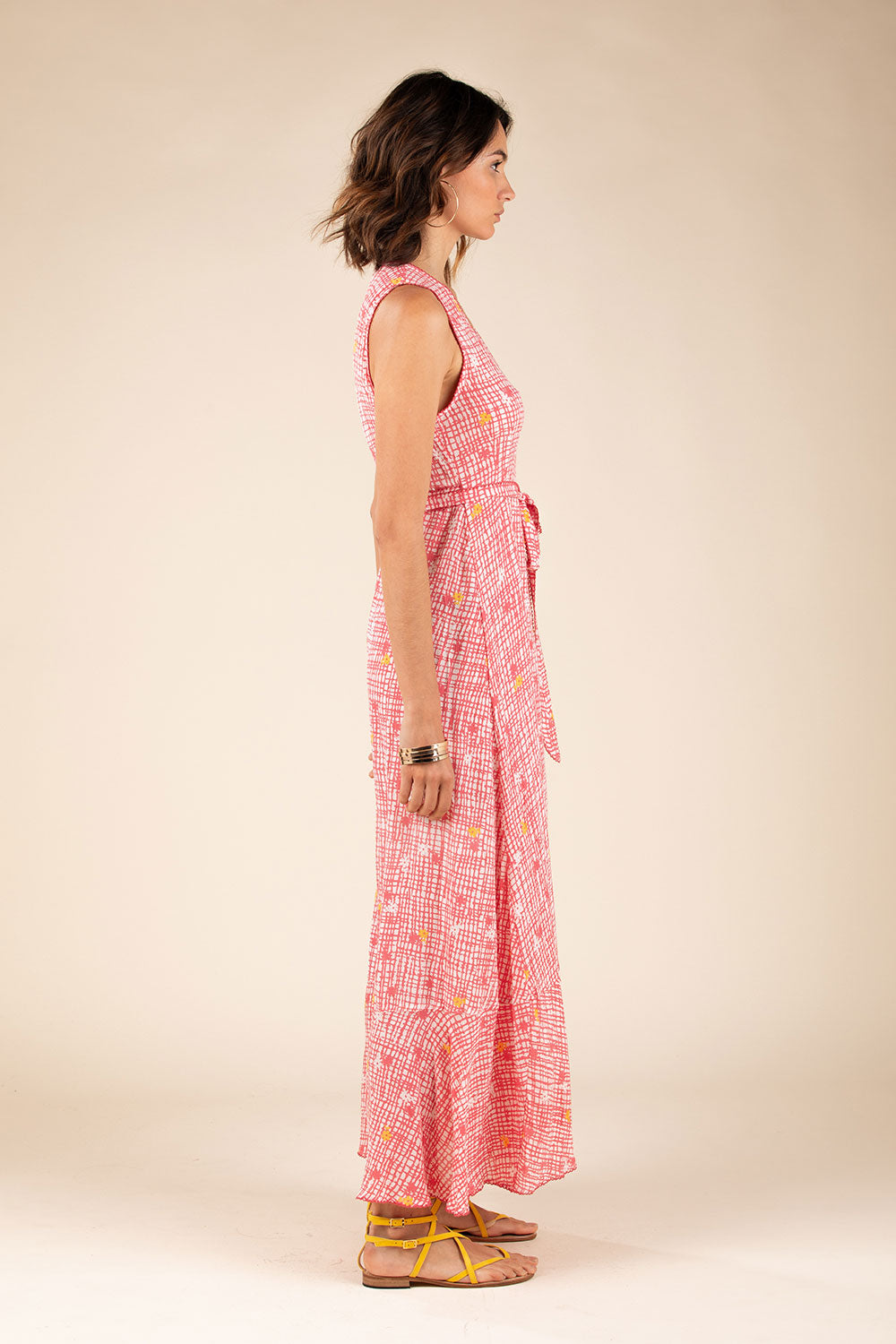 Long Dress Bonnie Layered - Pink Maze