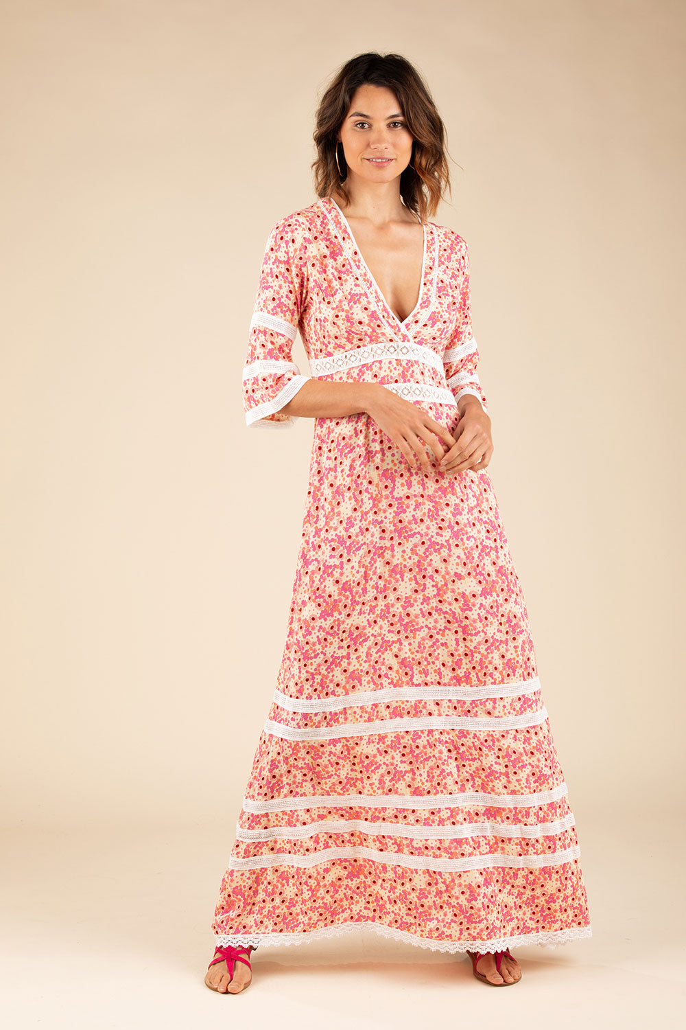 Long Dress Capri Lace Trimmed - Yellow Gerbera