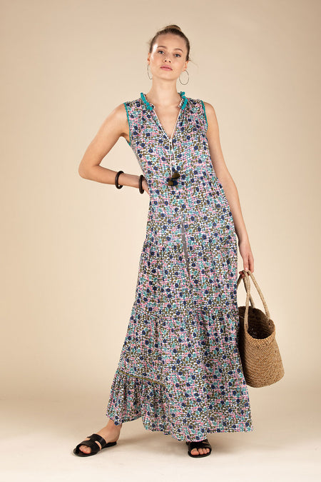 Long Dress Bonnie Layered - Blue Maze