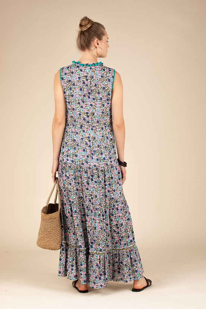 Long Dress Clara Sleeveless - Green Bloom