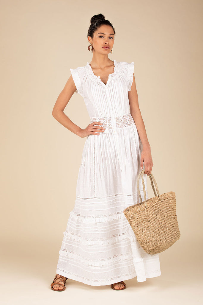 Long Dress Galia Pleated - White