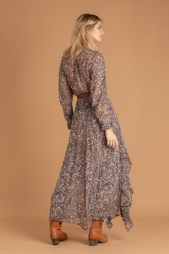 Long Dress Ilona Flounce - Choco Aspen