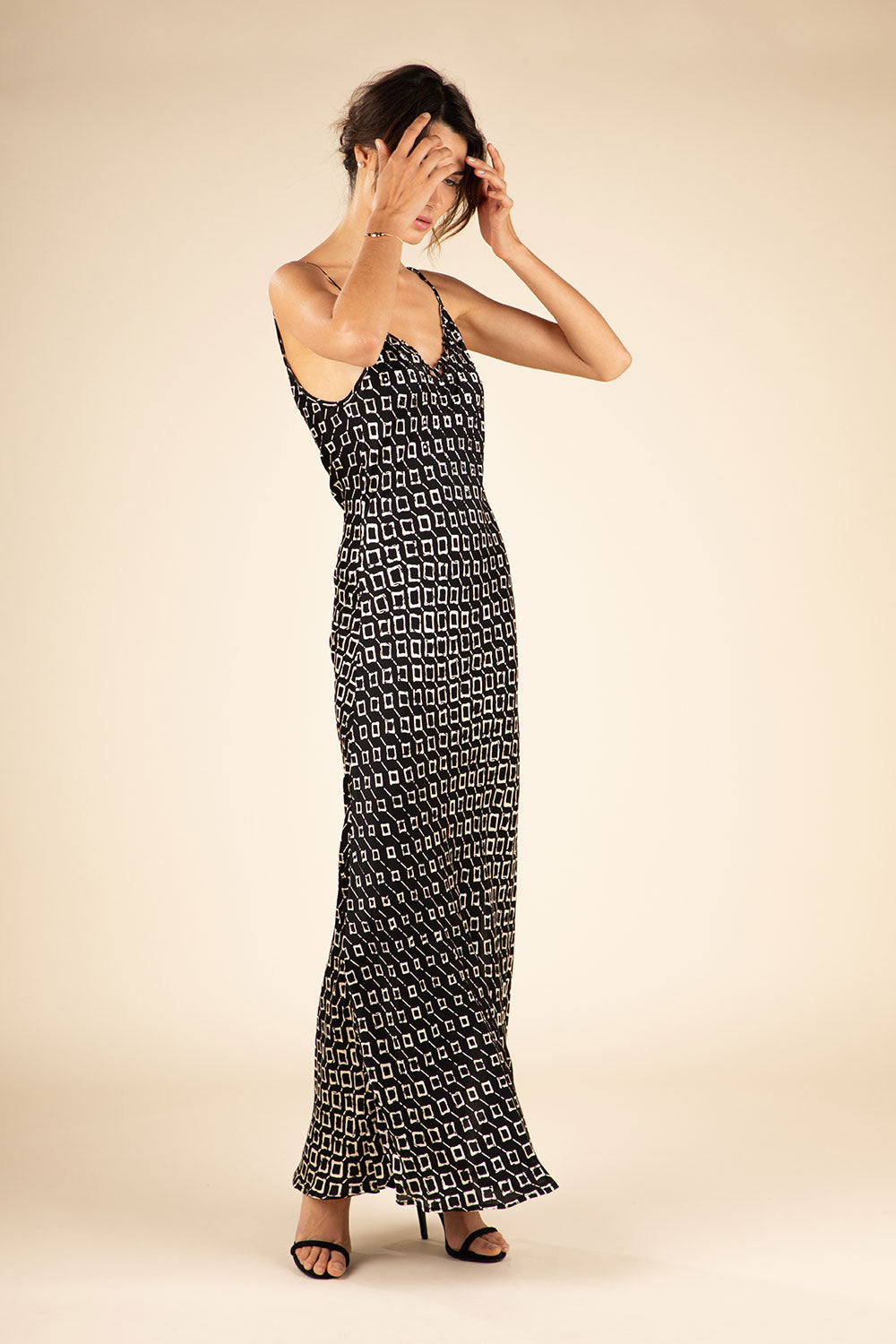 Long Dress Irma Broderie - Black Rombus