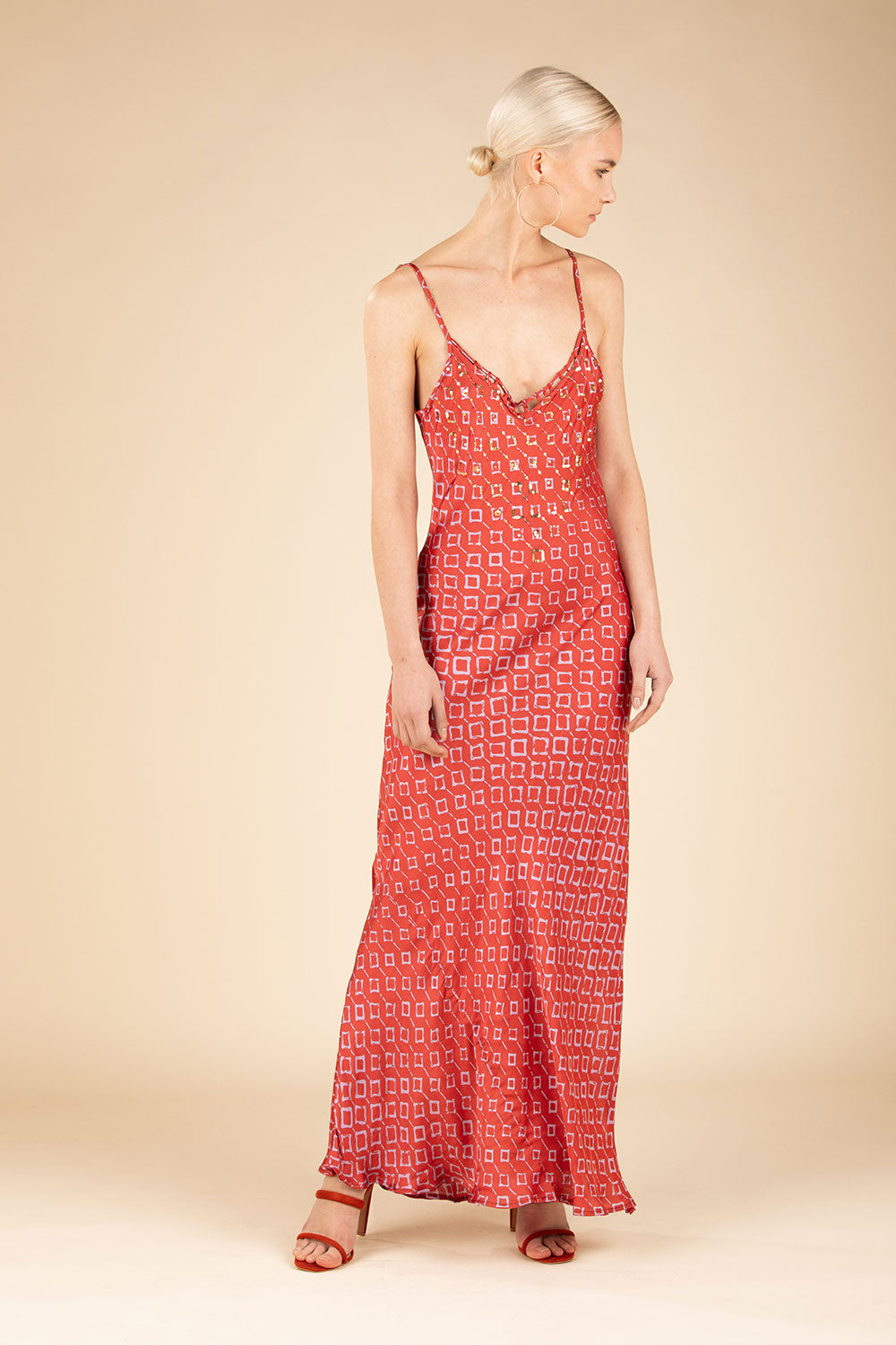 Long Dress Irma Broderie - Orange Rombus (4125191307310)