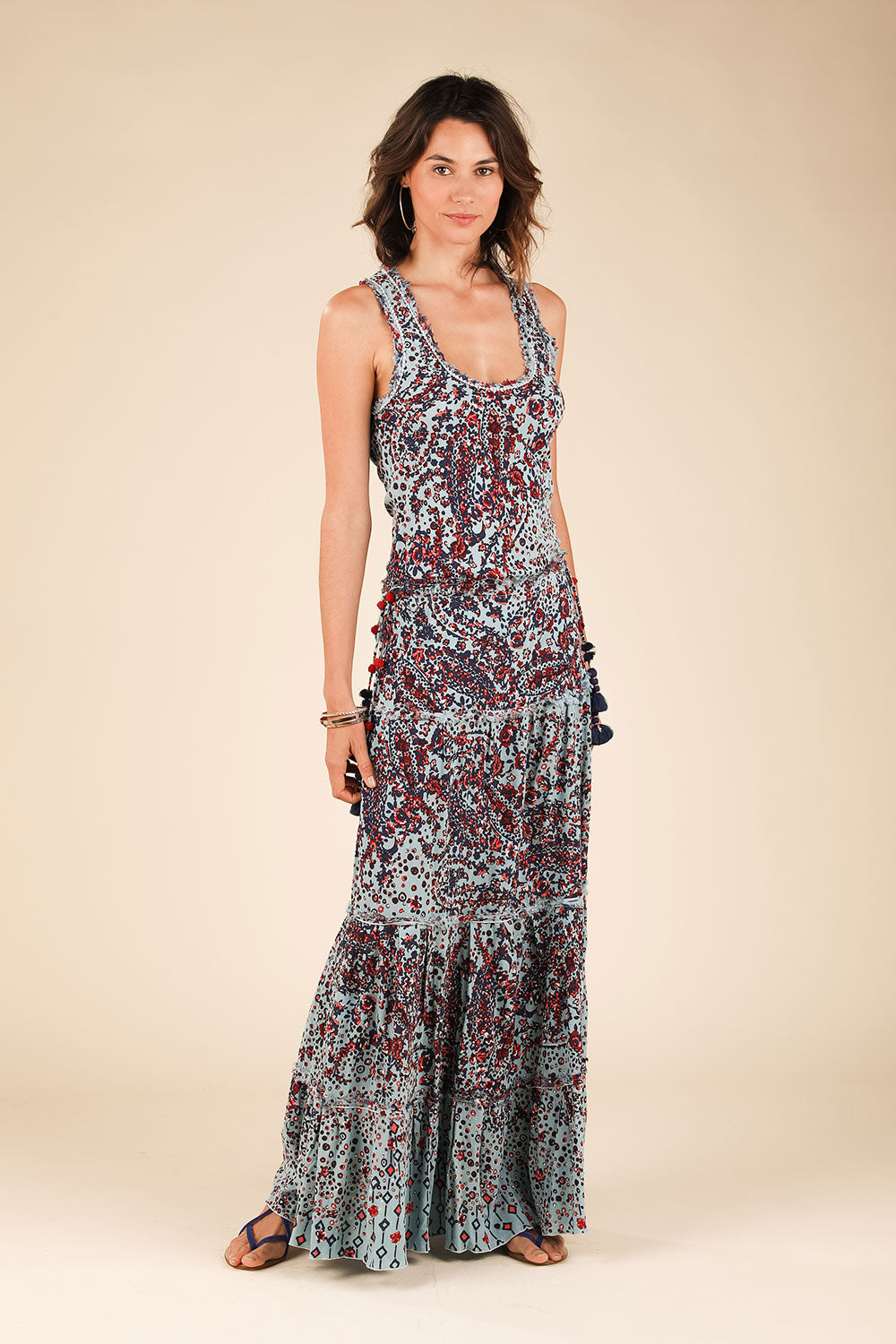 Long Dress Jena Panelled - Light Blue Paisley
