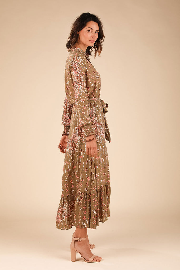 Long Dress Tunic Kimi Ruffled - Green Pineapple Batik Rombo