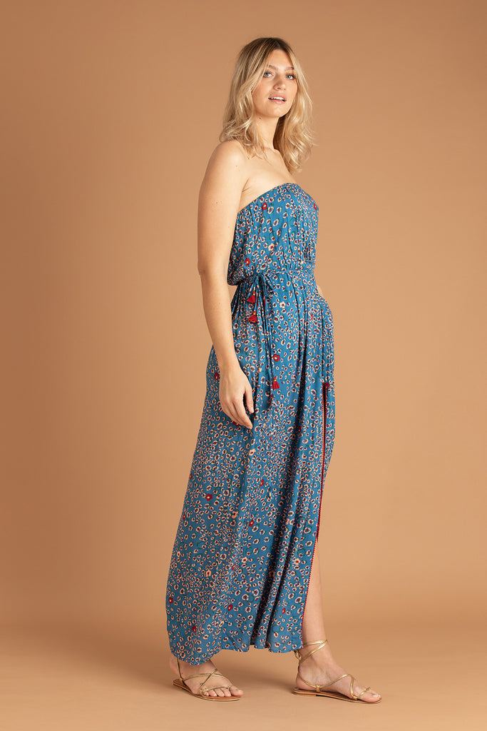 Long Dress Mara Strapless - Blue Leo