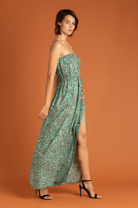 Long Dress Ilona Flounce - Lime Aspen