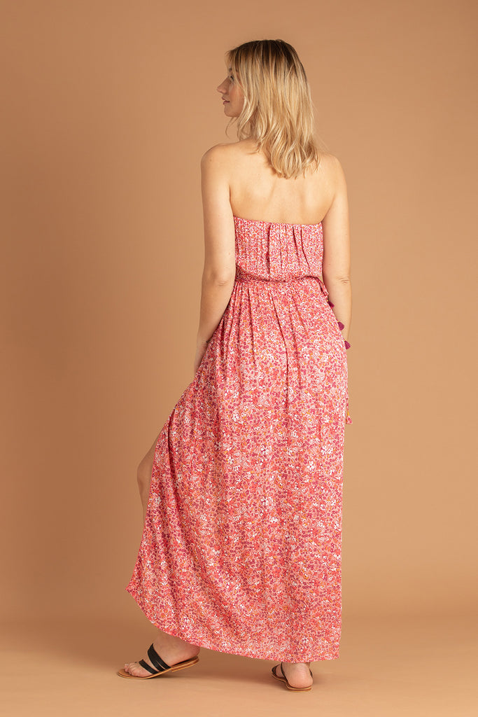 Long Dress Mara Strapless - Pink Glory