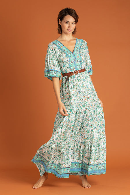 Long Dress Mara Strapless - Green Leo
