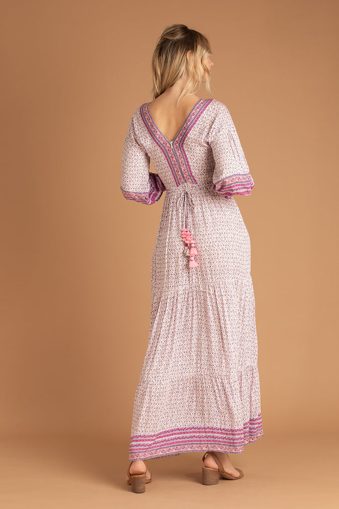 Long Dress Mya Ruffled - Purple Domino