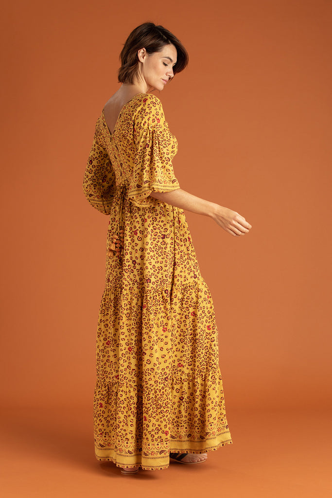 Long Dress Mya Ruffled - Yellow Leo