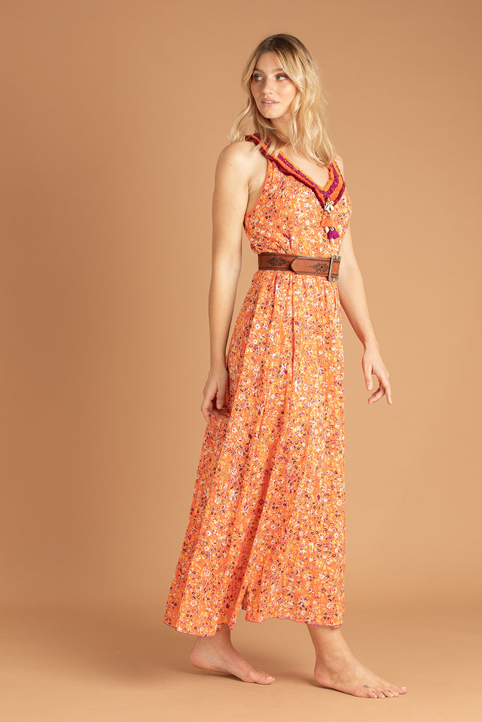 Long Dress Nava Sleeveless - Orange Gardenia