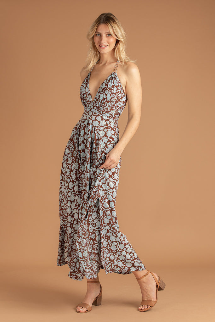Long Dress Ollie Flounce - Choco Egypt