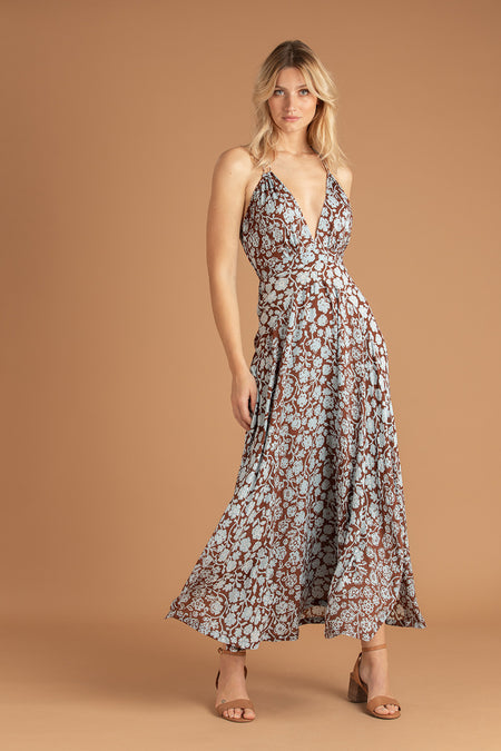 Long Dress Lucia Lace Trimmed - Choco Aspen