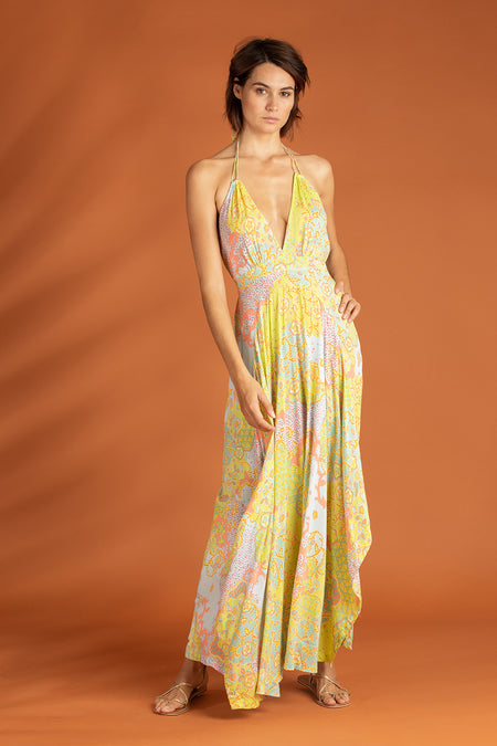 Long Dress Rita Ruffled - Yellow Watercolor