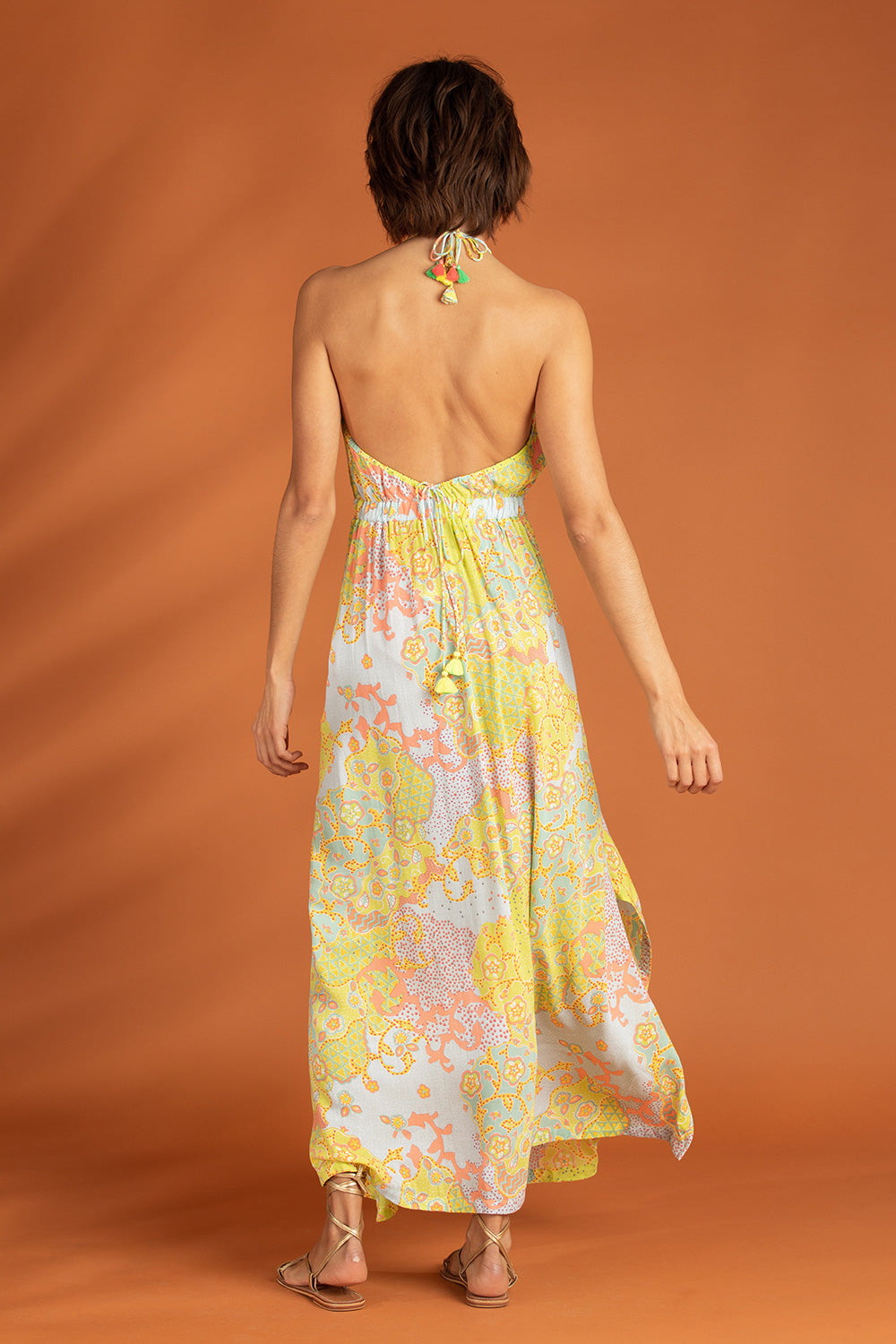 Long Dress Ollie Flounce - Lime Peony