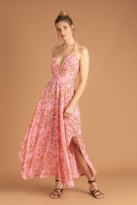 Long Dress Lucia Lace Trimmed - Green Peony