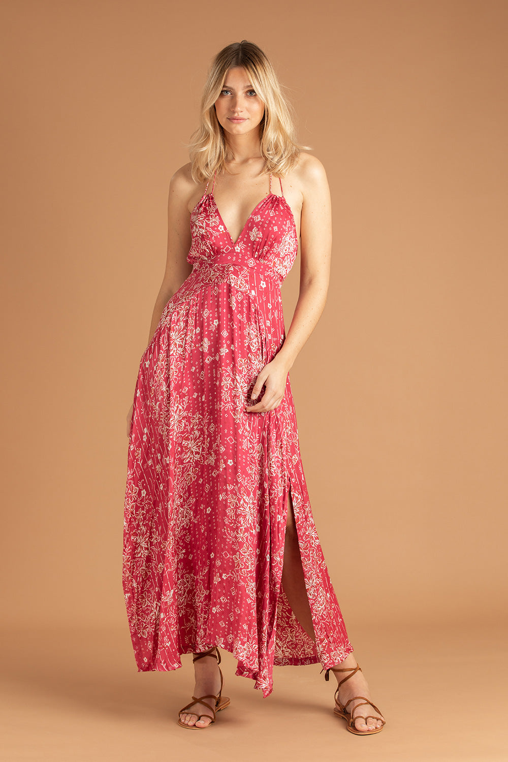 Long Dress Ollie Flounce - Pink Colibri Batik Vertical