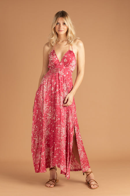 Long Dress Elsa Open Back - Black Pink Ameline