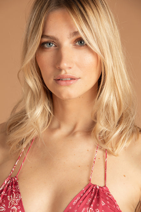 Bikini Bottom Molly Lace Trimmed - Orange Wild
