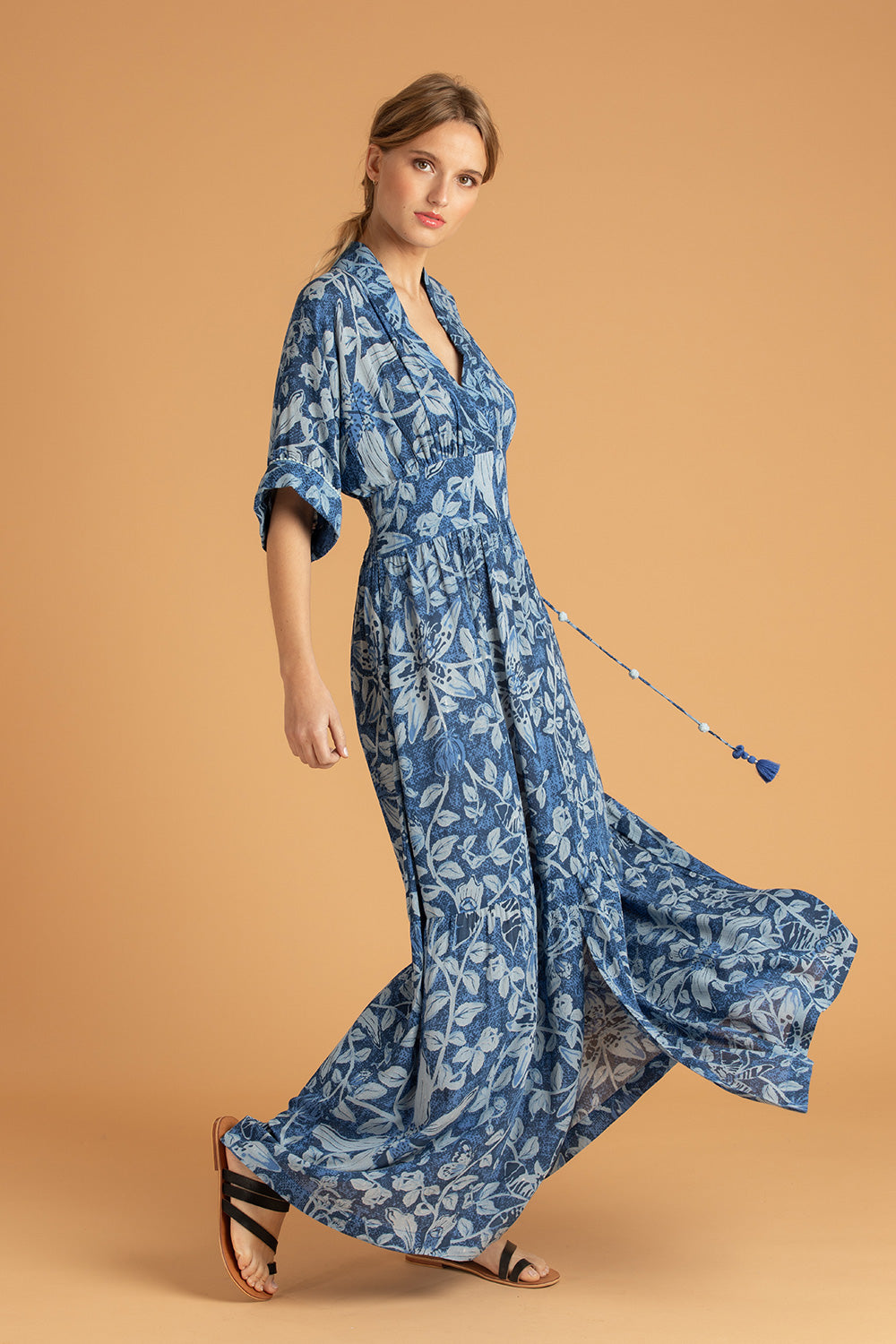 Long Dress Rachel Kimono - Blue Tropical