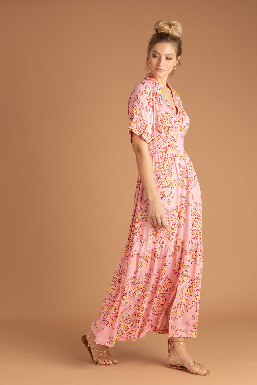 Long Dress Rachel Kimono - Pink Allium