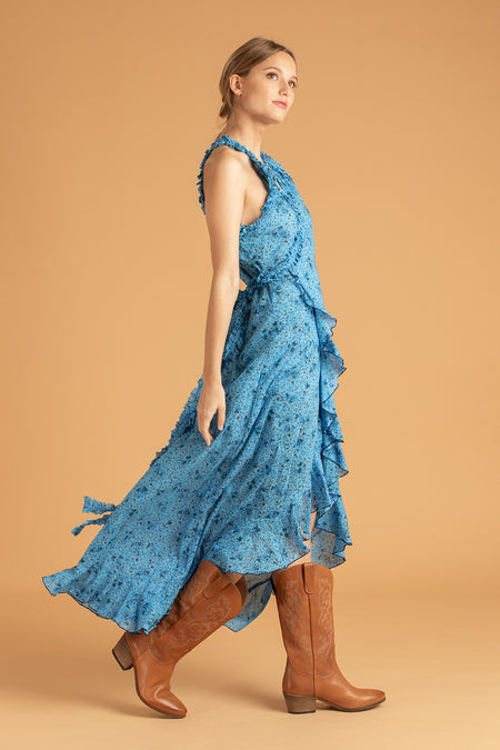 Midi Dress Triny Smocked - Blue Watercolor
