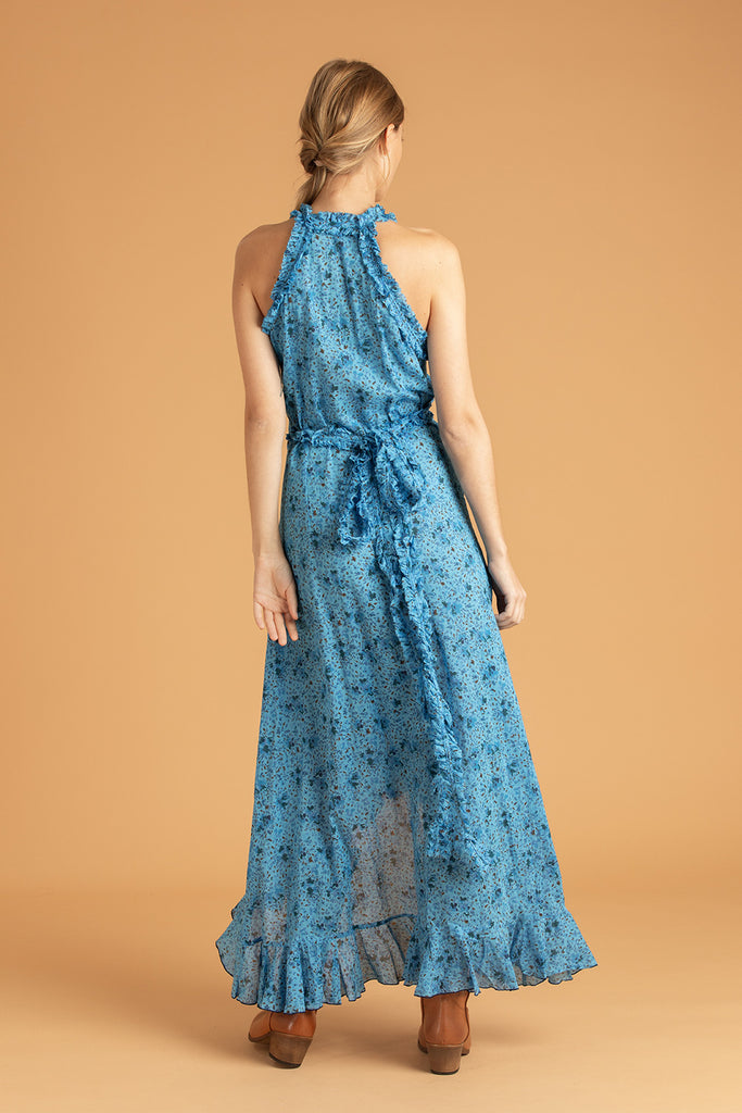 Long Dress Tamara Ruffled - Blue Watercolor