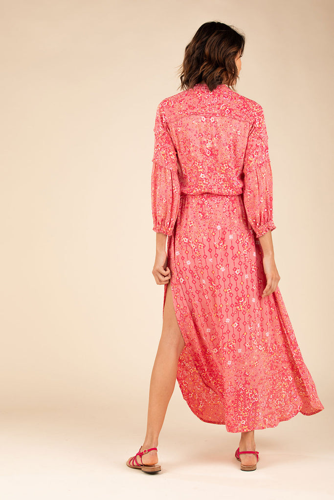 Long Dress Tunic Ilona Long Sleeve - Pink Paisley