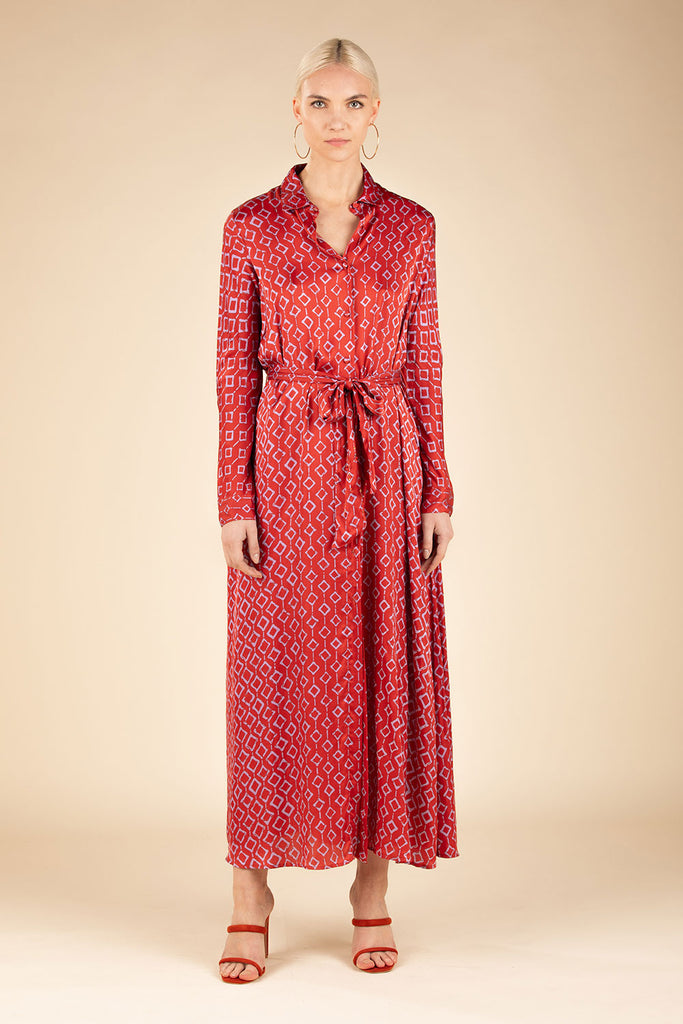 Long Dress Tunic Irma Buttoned - Orange Rombus (4125191503918)