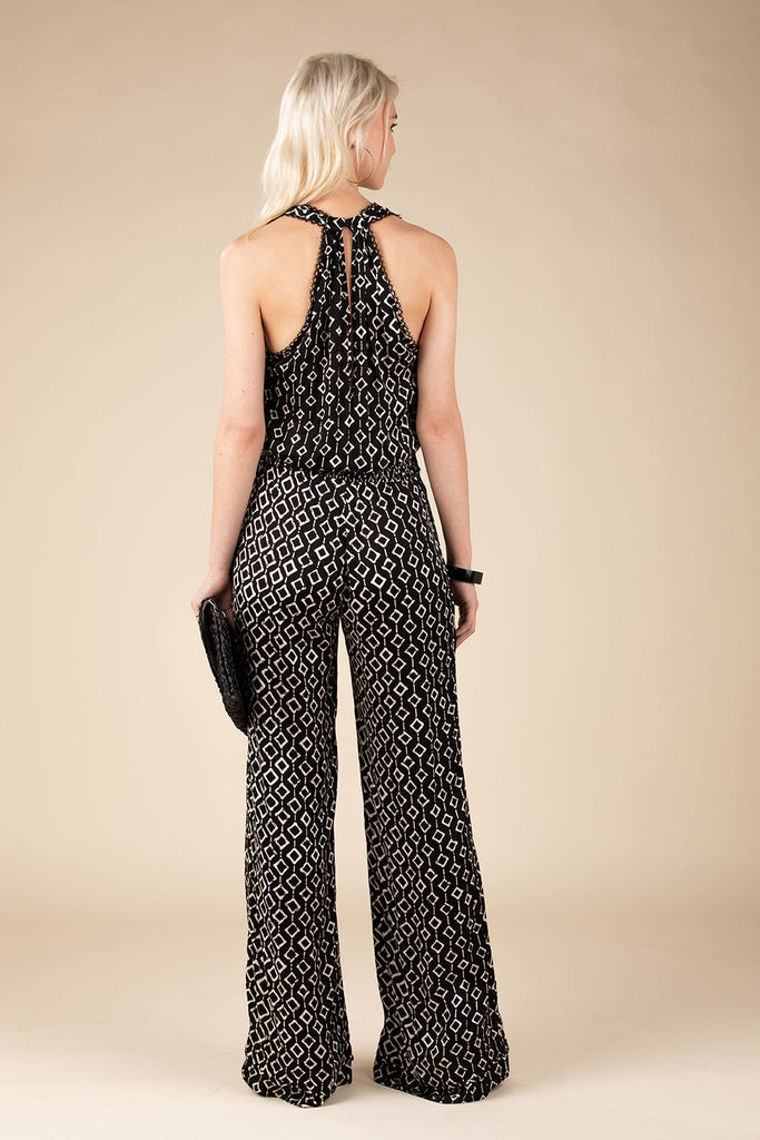 Long Jumpsuit Jena Sleeveless - Black Rombus