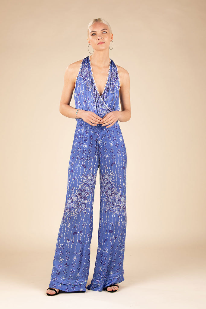 Long Jumpsuit Jena Sleeveless - Blue Pineapple Batik Rombo