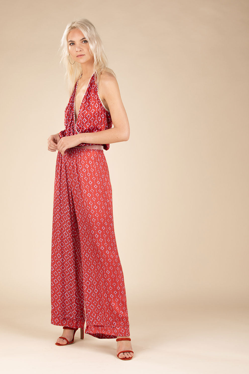Long Jumpsuit Jena Sleeveless - Orange Rombus (4125191766062)
