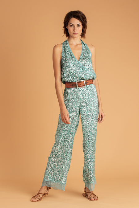 Short Jumpsuit Anita Pleated - Green Peony
