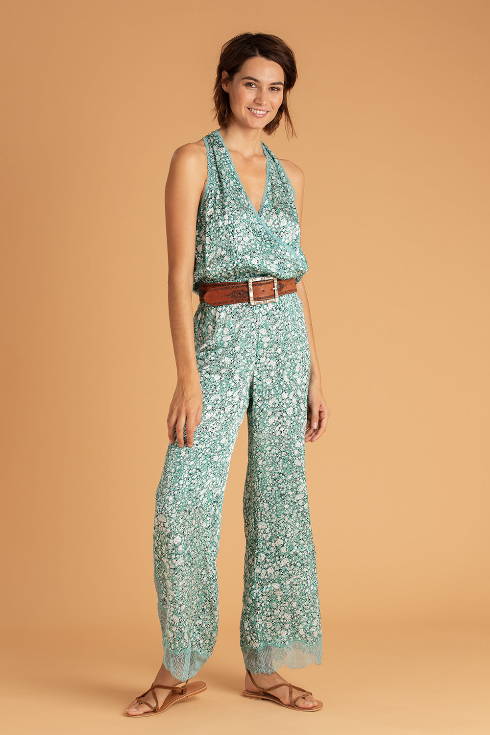 Long Jumpsuit Lucia Lace Trimmed - Aqua Aspen