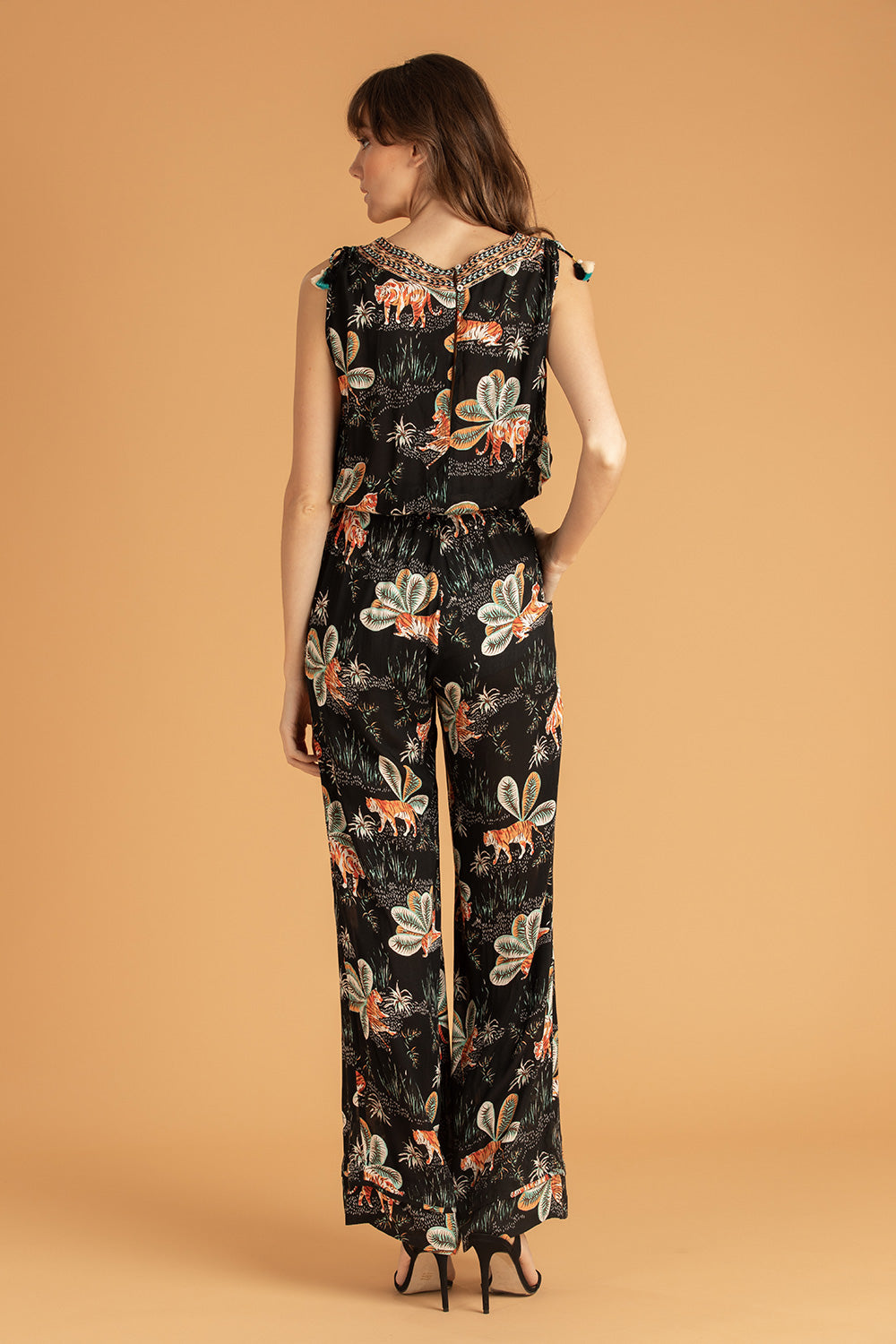 Long Jumpsuit Mya Pompom Trimmed - Black Tiger