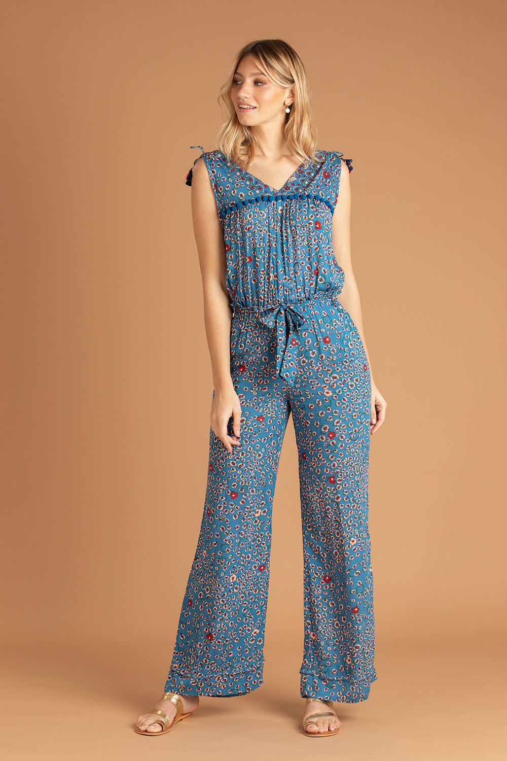 Long Jumpsuit Mya Pompom Trimmed - Blue Leo