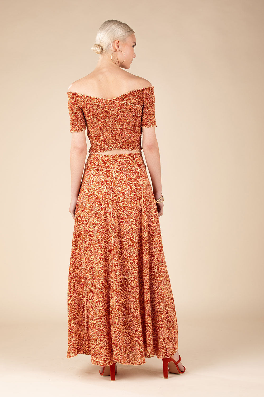 Long Skirt Jena Panelled - Orange Wild