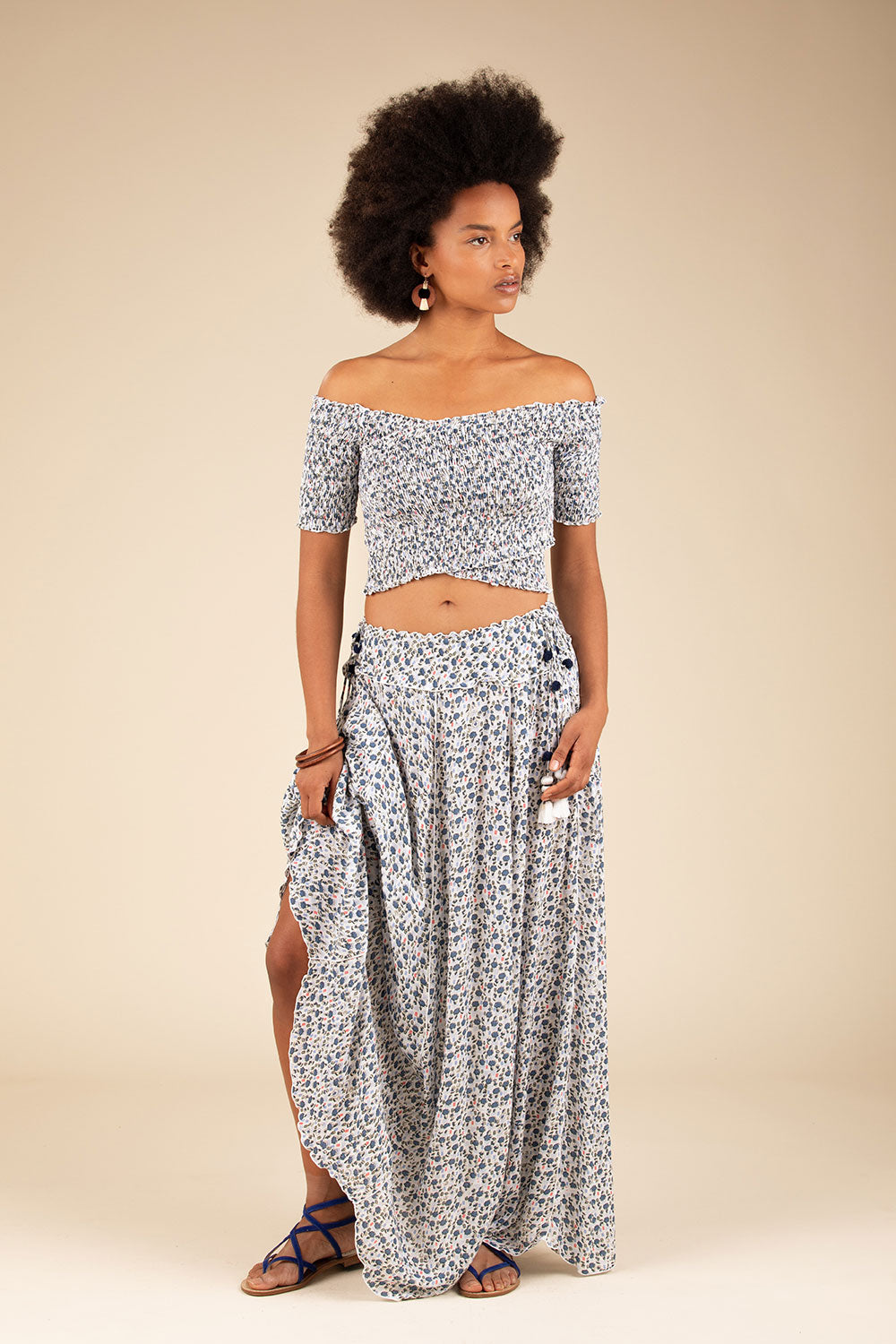 Long Skirt Jena Panelled - White Blue Bell
