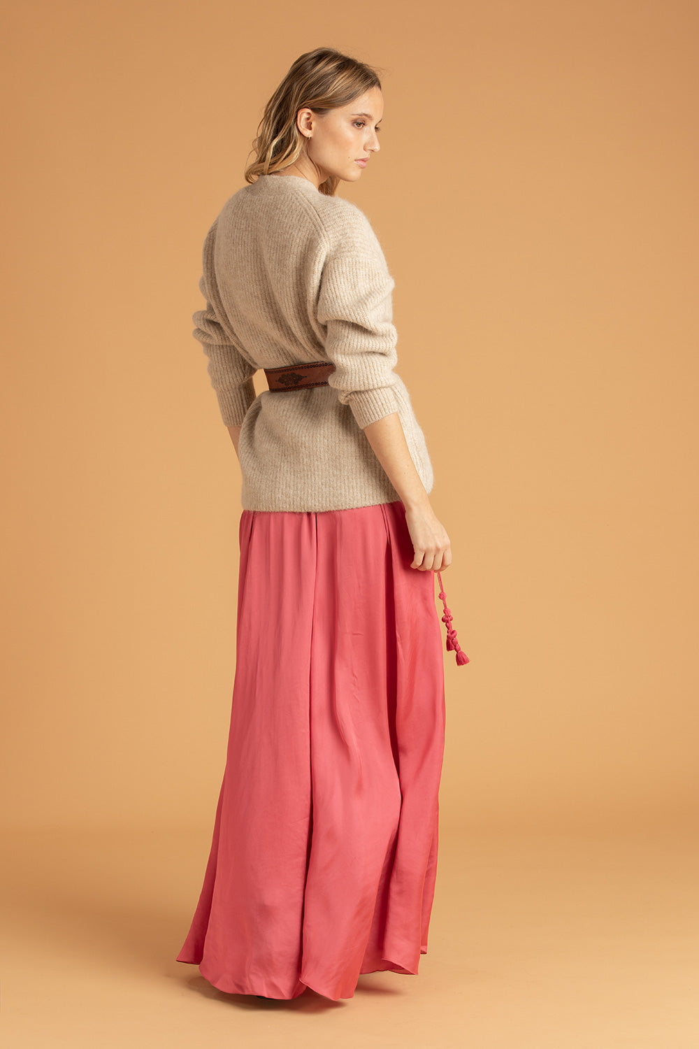 Long Skirt Jena Panelled - Pink (4419551166510)