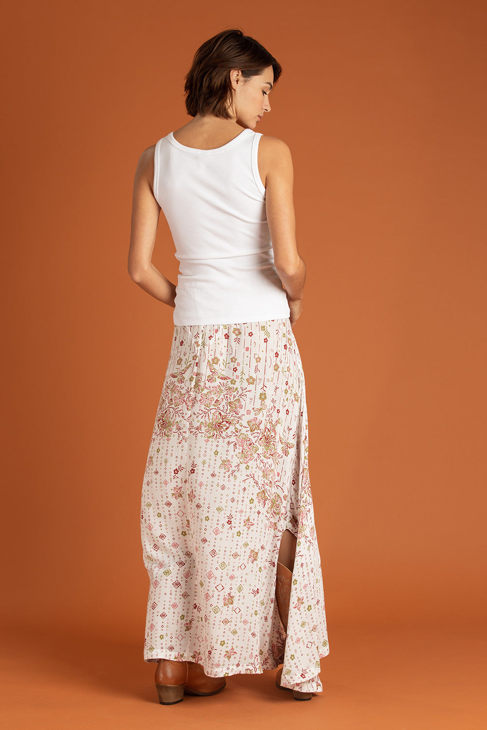 Long Skirt Ollie Flounce - White Green Colibri Batik Rombo