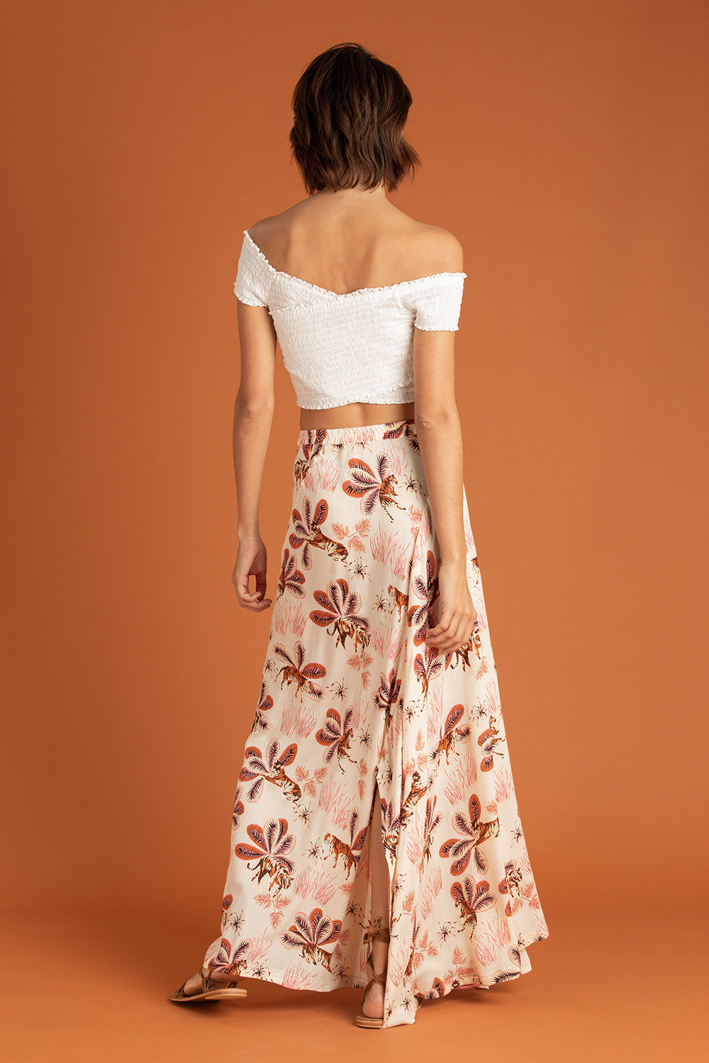 Long Skirt Ollie Flounce - Off White Tiger