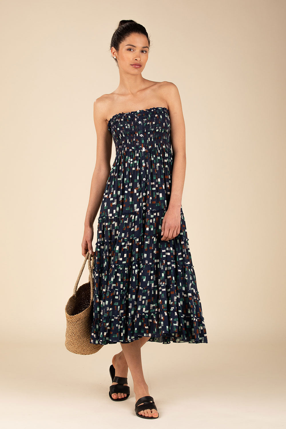 Long Skirt Foe Panelled - Navy Square