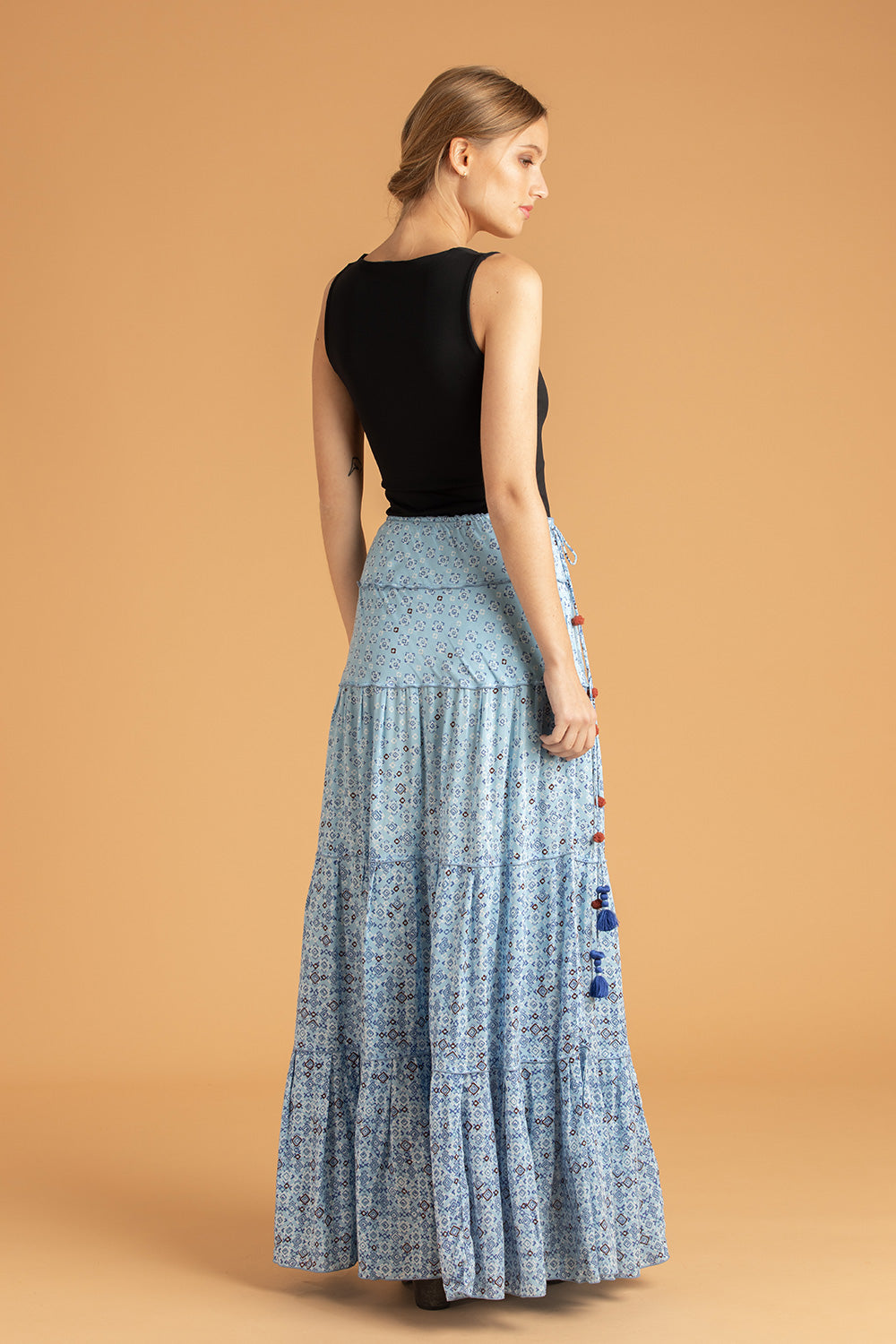 Long Skirt Sylvia Panelled - Blue Mirror