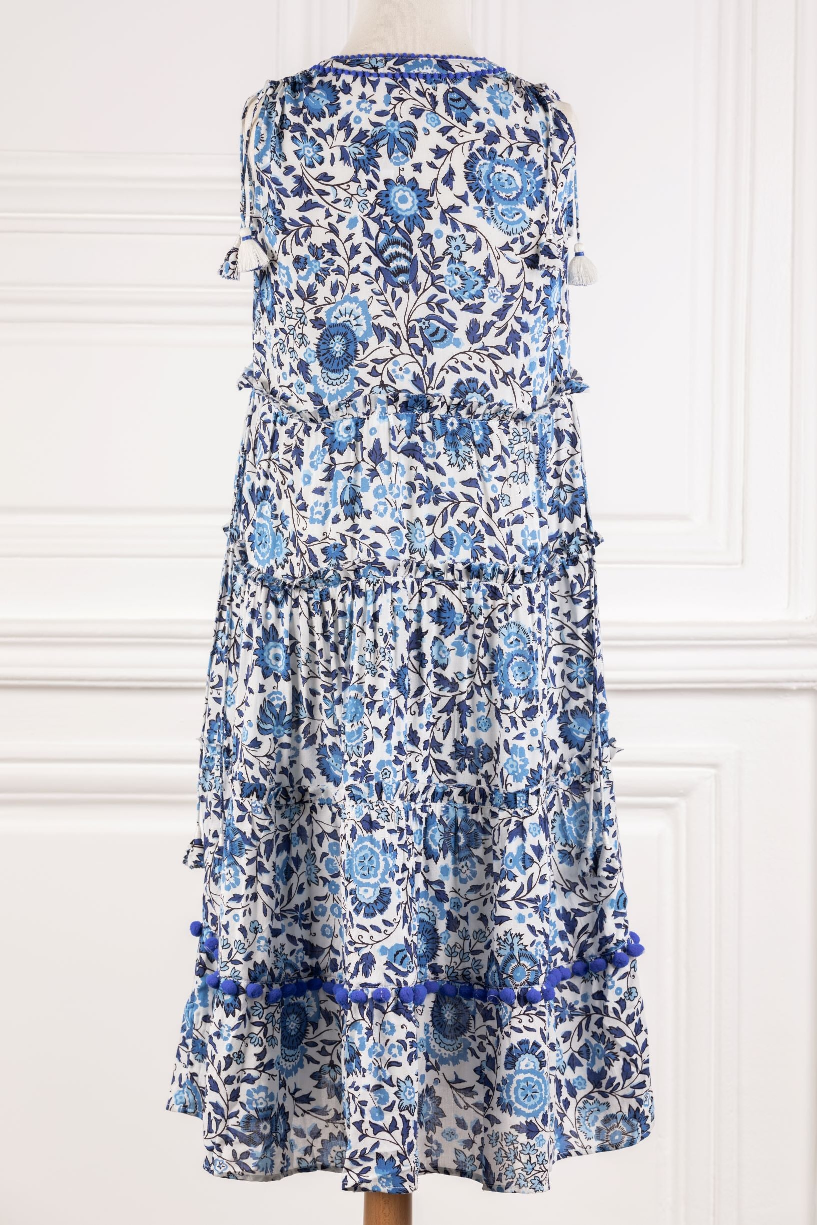 Kids Long Dress Ivy Panelled - White Blue Celery